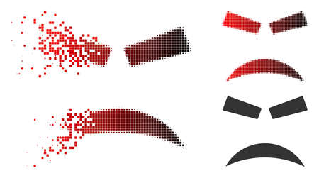 Furious smiley icon in fractured, dotted halftone and undamaged entire versions. Particles are organized into vector disappearing furious smiley symbol. Vectores