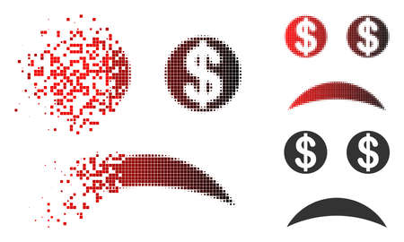 Sad bankrupt smiley icon in dispersed, pixelated halftone and undamaged entire versions. Points are grouped into vector dispersed sad bankrupt smiley shape.