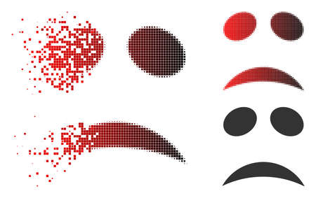 Sad emote smiley icon in dispersed, dotted halftone and undamaged entire versions. Pieces are composed into vector dispersed sad emote smiley shape.