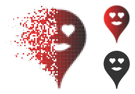 Lady love smiley map marker icon in sparkle, dotted halftone and undamaged solid variants. Pixels are combined into vector sparkle lady love smiley map marker icon. Illustration