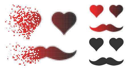 Lover smiley icon in dissolved, pixelated halftone and undamaged solid variants. Cells are arranged into vector disappearing lover smiley icon.