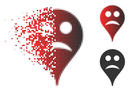 Sad smiley map marker icon in sparkle, pixelated halftone and undamaged entire variants. Cells are organized into vector sparkle sad smiley map marker shape.