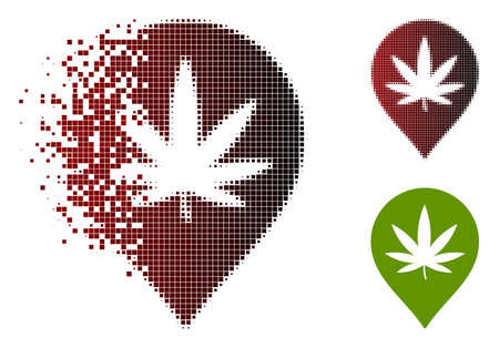 Cannabis map marker icon in dispersed, dotted halftone and undamaged whole versions. Points are grouped into vector dispersed cannabis map marker icon.