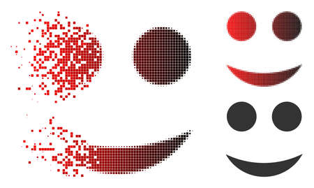 Smiley icon in dispersed, dotted halftone and undamaged solid variants. Fragments are arranged into vector dispersed smiley pictogram. Ilustração