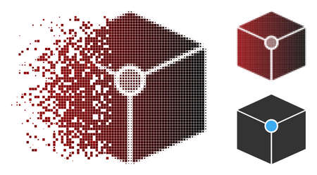 Cube vertex icon in dispersed, pixelated halftone and undamaged whole versions. Pixels are organized into vector dispersed cube vertex icon.
