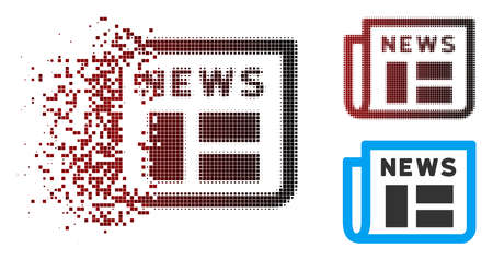 Newspaper icon in dissolved, pixelated halftone and undamaged whole versions. Points are arranged into vector dispersed newspaper icon. Illustration