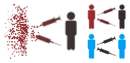 Men syringe exchange icon in dissolved, pixelated halftone and undamaged whole versions. Cells are grouped into vector dissolving men syringe exchange icon. Vectores