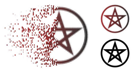 Star pentacle icon in dispersed, pixelated halftone and undamaged entire versions. Elements are grouped into vector disappearing star pentacle symbol.