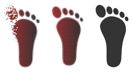 Footprint icon in dispersed, pixelated halftone and undamaged solid versions. Points are grouped into vector dispersed footprint symbol.