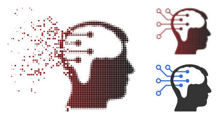 Neural interface circuit icon in dispersed, pixelated halftone and undamaged entire versions. Points are arranged into vector sparkle neural interface circuit icon.  イラスト・ベクター素材