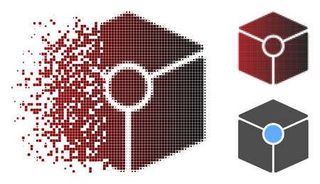 Cube vertex icon in sparkle, pixelated halftone and undamaged whole variants. Pixels are composed into vector sparkle cube vertex icon.