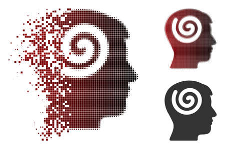 Hypnosis icon in dispersed, pixelated halftone and undamaged solid variants. Fragments are composed into vector disappearing hypnosis icon. Stock Illustratie
