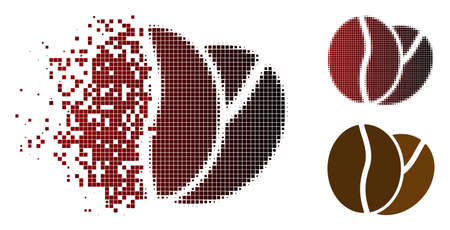 Coffee beans icon in dispersed, dotted halftone and undamaged entire versions. Pixels are grouped into vector dispersed coffee beans form. Иллюстрация