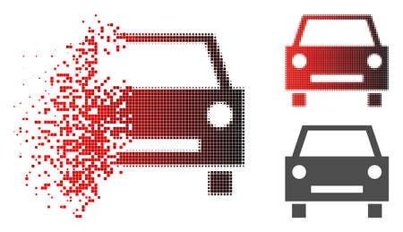 Car icon in dissolved, pixelated halftone and undamaged entire versions. Cells are organized into vector dissolving car icon.