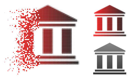 Bank building icon in sparkle, pixelated halftone and undamaged entire variants. Points are composed into vector disappearing bank building shape. Ilustrace