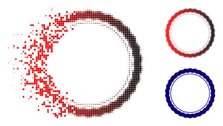 Certificate round rosette frame icon in dissolved, pixelated halftone and undamaged whole variants. Particles are arranged into vector sparkle certificate round rosette frame symbol.