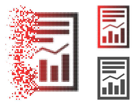 Chart report page icon in sparkle, dotted halftone and undamaged entire variants. Pixels are composed into vector disappearing chart report page form.