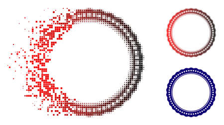 Dotted rosette circular frame icon in dispersed, dotted halftone and undamaged entire versions. Elements are arranged into vector dispersed dotted rosette circular frame symbol.