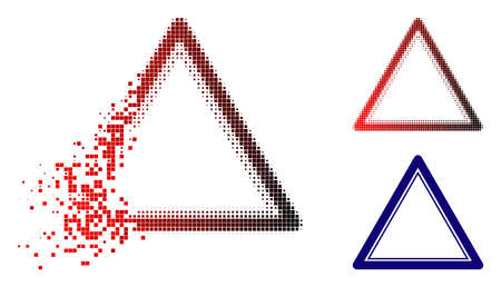 Double triangle frame icon in dispersed, pixelated halftone and undamaged whole versions. Elements are combined into vector dispersed double triangle frame pictogram.