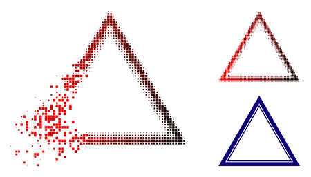 Double triangle frame icon in dissolved, pixelated halftone and undamaged whole variants. Particles are combined into vector disappearing double triangle frame icon.