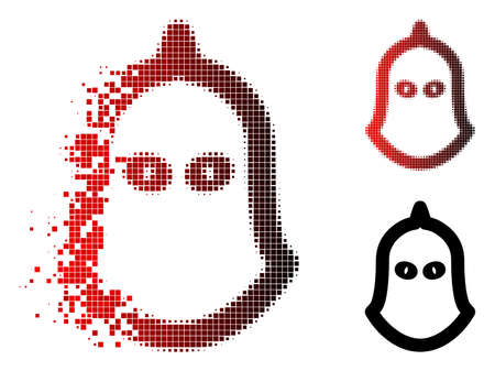 Executioner helmet icon in sparkle, pixelated halftone and undamaged entire variants. Pieces are organized into vector dispersed executioner helmet icon.