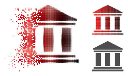 Library building icon in dissolved, dotted halftone and undamaged entire versions. Pixels are composed into vector disappearing library building pictogram.
