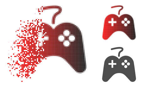 Game pad icon in fractured, pixelated halftone and undamaged solid variants. Particles are grouped into vector dissolving game pad icon.