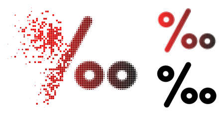 Permille icon in dissolved, pixelated halftone and undamaged solid versions. Particles are organized into vector dispersed permille symbol.