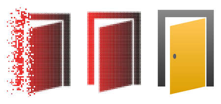 Open door icon in fractured, pixelated halftone and undamaged solid versions. Particles are arranged into vector dissolving open door shape.