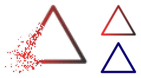 Rounded triangle frame icon in dissolved, pixelated halftone and undamaged solid versions. Particles are arranged into vector dissolving rounded triangle frame icon.