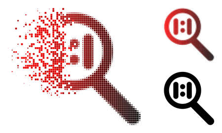 Zoom actual scale icon in dissolved, pixelated halftone and undamaged solid variants. Pixels are composed into vector disappearing zoom actual scale figure.