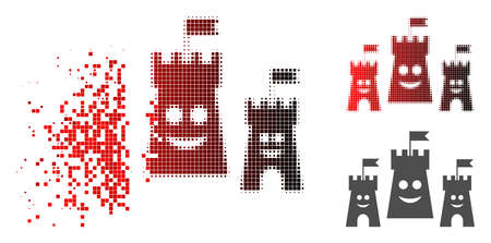 Happy bulwark icon in dispersed, pixelated halftone and undamaged whole variants. Pieces are grouped into vector disappearing happy bulwark form.