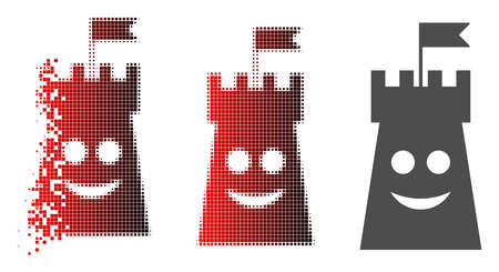 Happy bulwark tower icon in dispersed, dotted halftone and undamaged solid versions. Points are grouped into vector disappearing happy bulwark tower shape.
