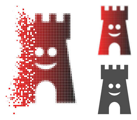 Happy fort tower icon in fractured, pixelated halftone and undamaged solid versions. Cells are organized into vector dissipated happy fort tower icon.