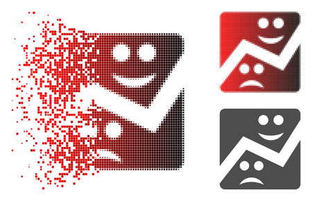 Emotion chart icon in dispersed, pixelated halftone and undamaged solid versions. Elements are composed into vector dispersed emotion chart icon.