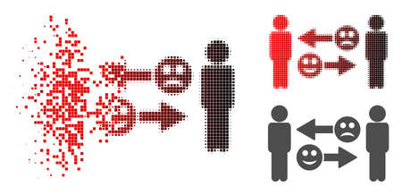 Emotion exchange people icon in sparkle, dotted halftone and undamaged solid versions. Pixels are grouped into vector sparkle emotion exchange people form.