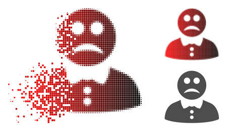 Sad boy icon in dispersed, dotted halftone and undamaged entire versions. Particles are organized into vector dissolving sad boy icon. Illustration