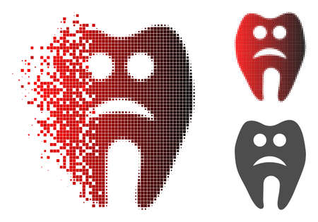 Sad tooth icon in dissolved, dotted halftone and undamaged whole variants. Elements are grouped into vector disappearing sad tooth icon.