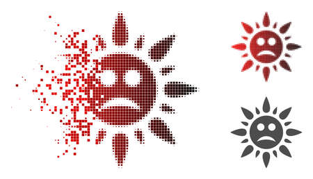 Sad sun light icon in fractured, dotted halftone and undamaged whole versions. Particles are arranged into vector sparkle sad sun light pictogram.