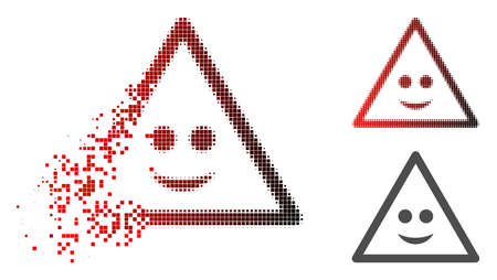 Smile warning icon in dispersed, pixelated halftone and undamaged whole variants. Points are organized into vector disappearing smile warning icon. Ilustrace