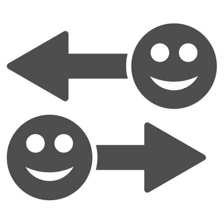 Happy emotion exchange arrows vector icon. Style is flat graphic grey symbol.
