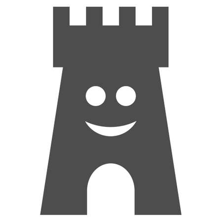 Happy fort tower vector pictogram. Style is flat graphic grey symbol.
