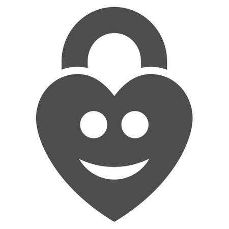 Happy love lock vector pictograph. Style is flat graphic gray symbol.