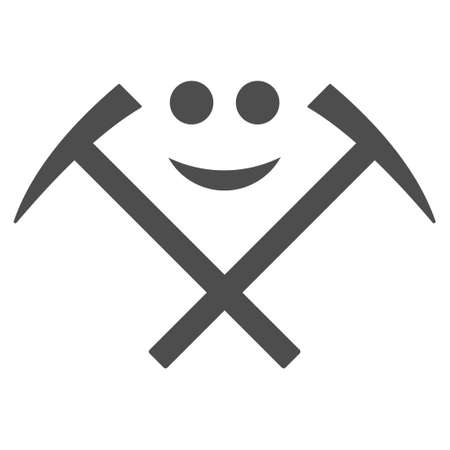 Happy mining hammers vector pictogram. Style is flat graphic grey symbol.