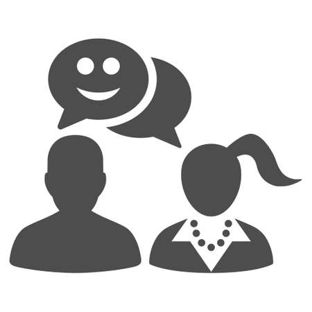 People happy chat vector icon. Style is flat graphic grey symbol. Иллюстрация