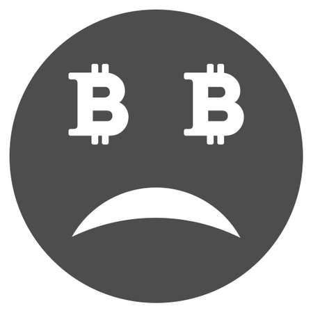 Sad Bitcoin smiley vector pictogram. Style is flat graphic gray symbol. Illustration