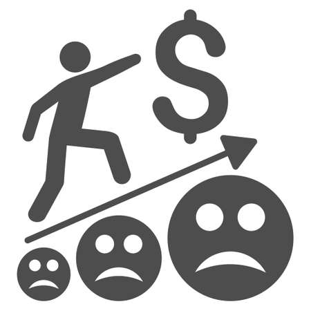 Sad business growth vector icon. Style is flat graphic grey symbol. Illustration