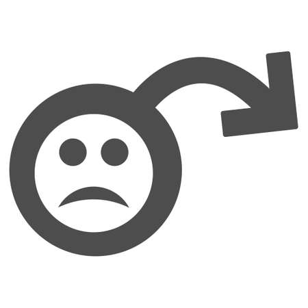 Sad impotence vector icon. Style is flat graphic grey symbol. Illustration