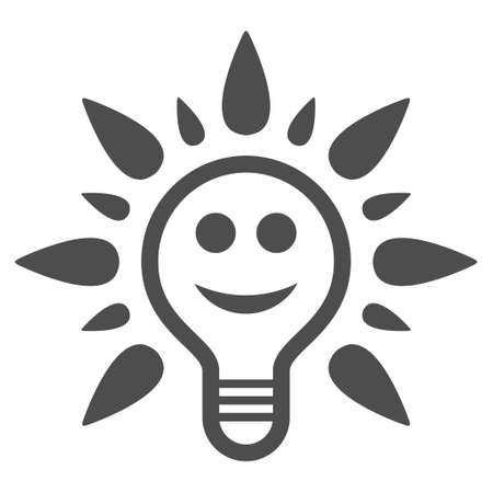 Smile light bulb vector icon. Style is flat graphic grey symbol.