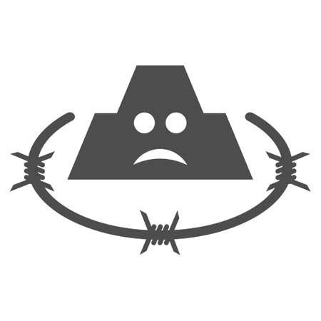 Sad prison vector pictogram. Style is flat graphic grey symbol.